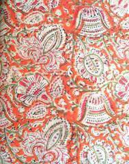 Kalamkari Handblock Print Running Material-Rust&Green Pattern(1 mtr/2.5 mtr)