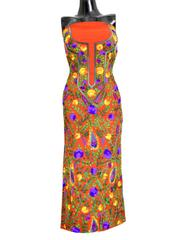 Unstitched Georgette Champa Work Kurta -Rust