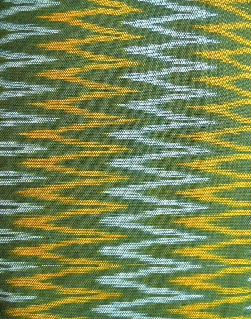 Ikat Cotton Running Material- Green&Orange (1 mtr/2.5 mtr)