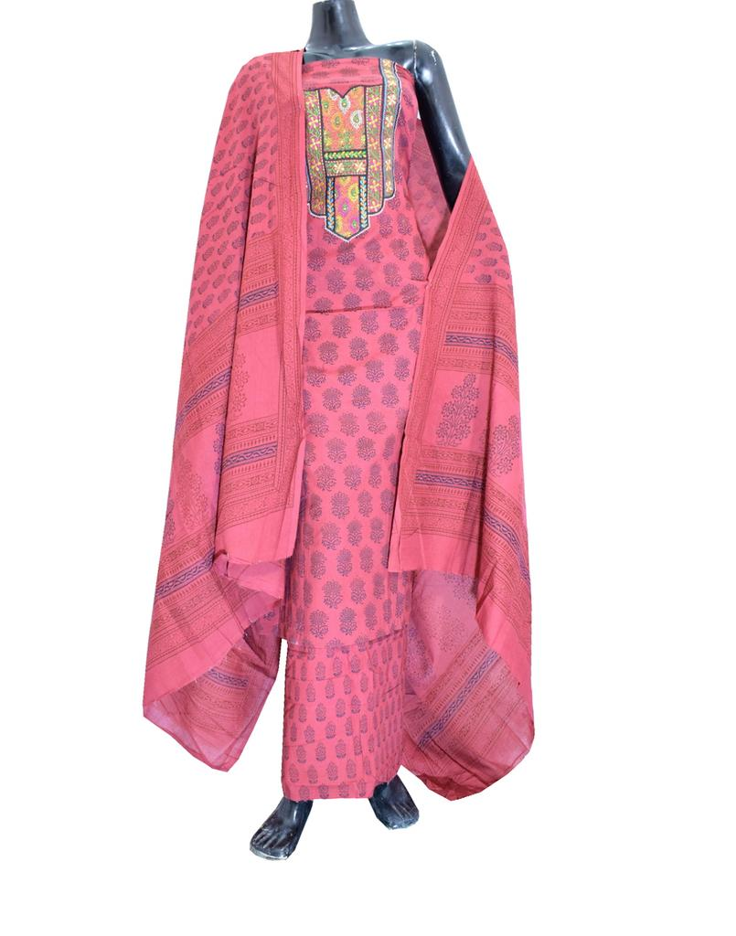 Cotton Bagh Print Salwar Suit-Maroon 1