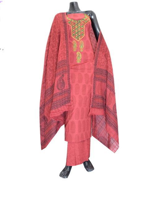 Cotton Bagh Print Salwar Suit-Maroon