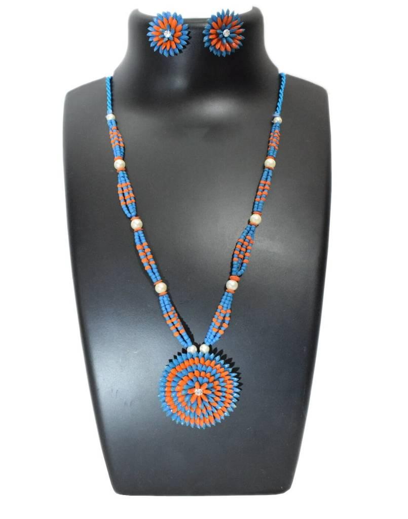 Paddy Grain Necklace Set- Orange&Blue