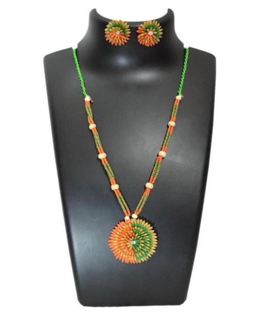 Paddy Grain Necklace Set- Orange&Green