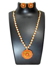 Paddy Grain Necklace Set-Orange&Beige