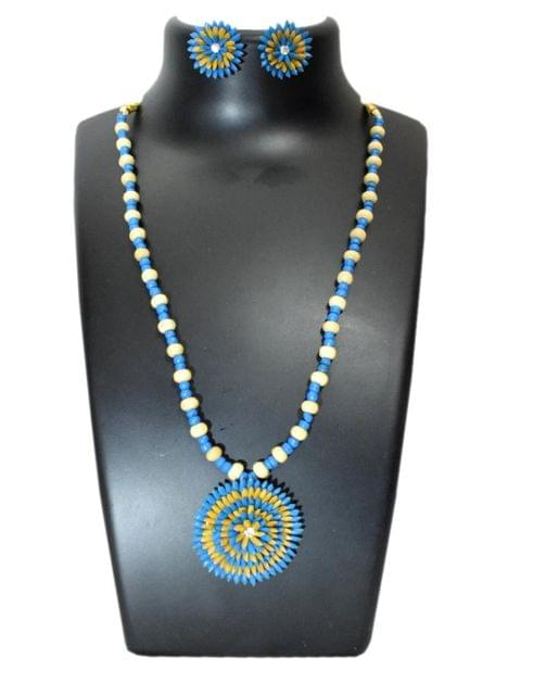 Paddy Grain Necklace Set- Blue&White