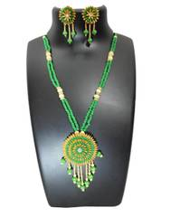 Paddy Grain Necklace Set- Green&Beige