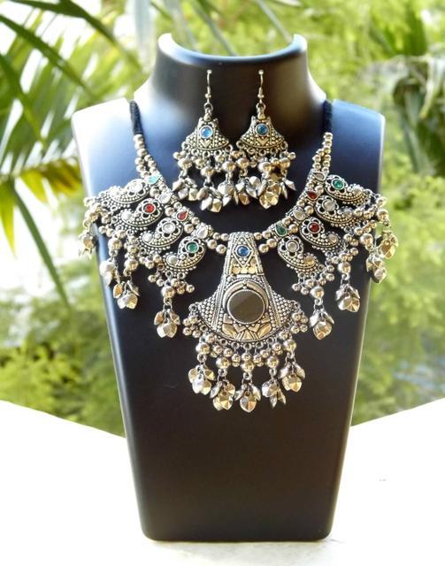 Oxidized Metal Jewellery Set- Mirror Pendant 1