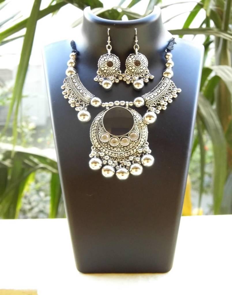 Oxidized Metal Hansuli Jewellery Set- Mirror Pendant 1