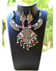 Oxidized Metal Hansuli Jewellery Set- Mirror Pendant 2