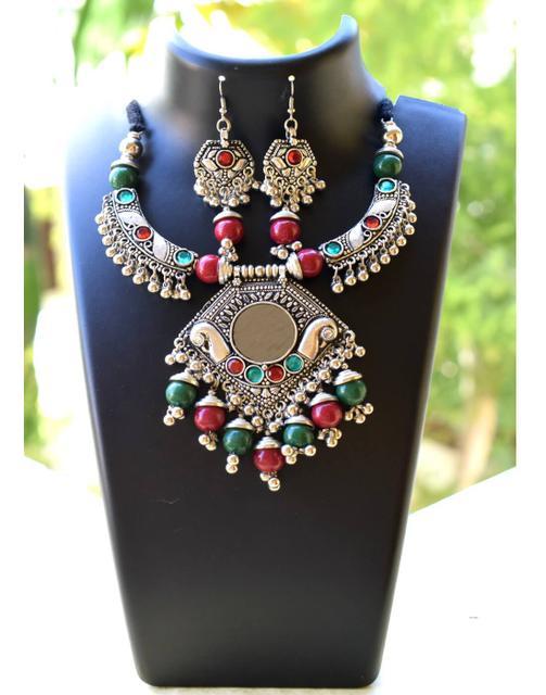 Oxidized Metal Hansuli Jewellery Set- Mirror Pendant 2