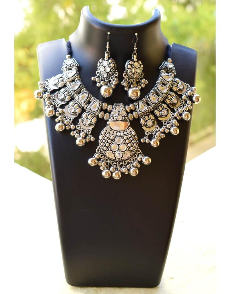 Oxidized Metal Jewellery Set- White Beads