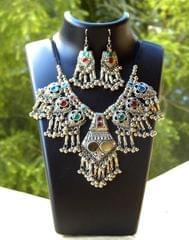 Oxidized Metal Jewellery Set- Multicolor Beads