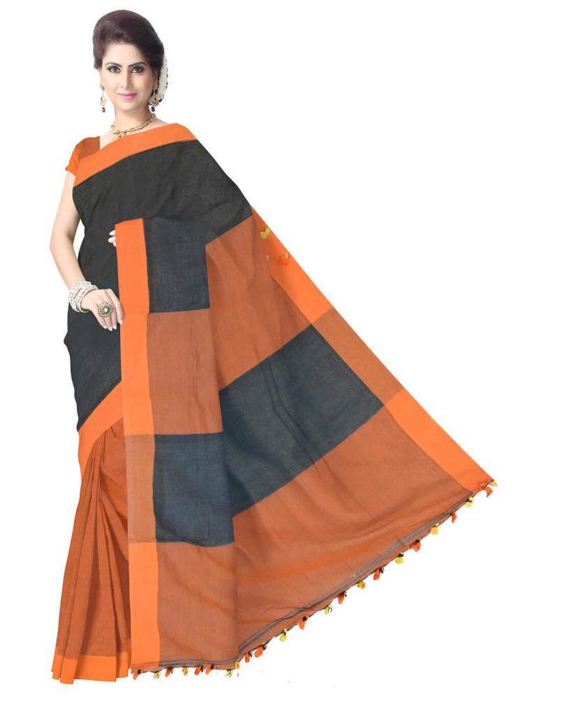 Bengal Handloom Cotton Linen Saree- Black&Rust
