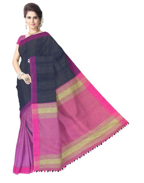 Bengal Handloom Cotton Linen Saree- Navy Blue&Mauve