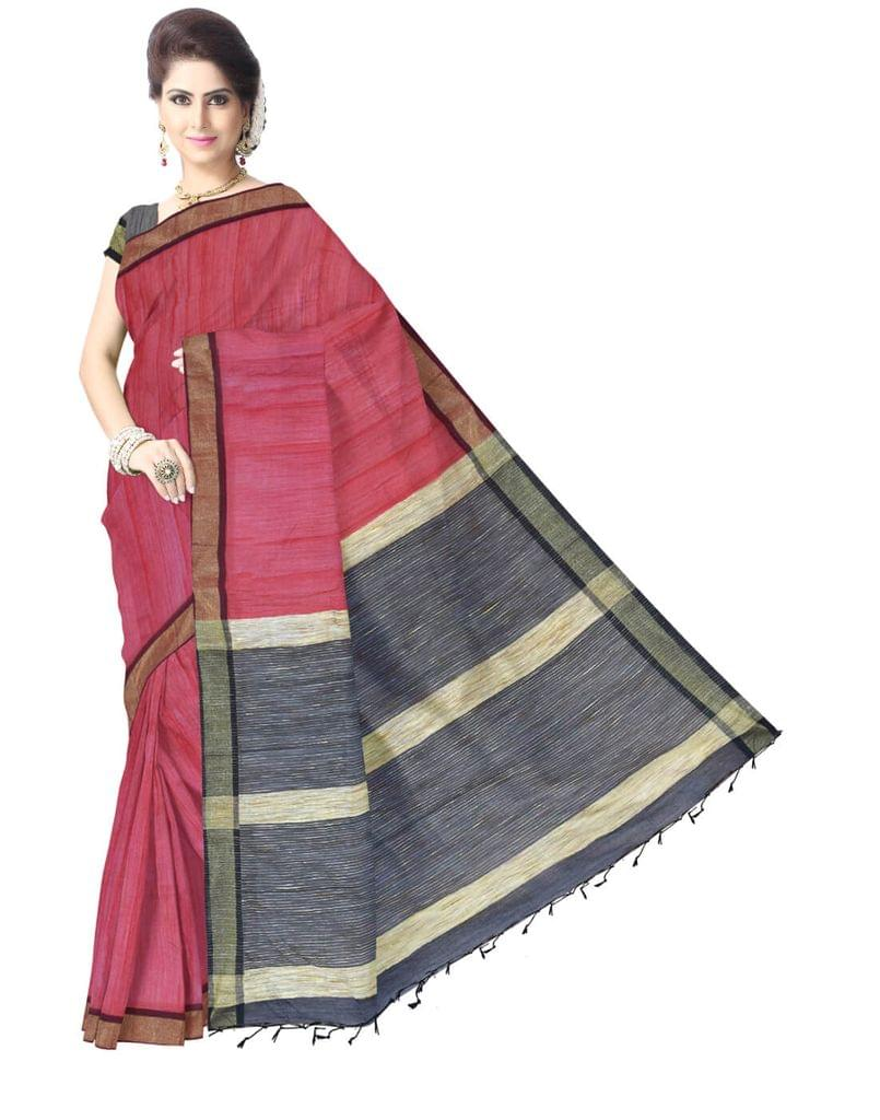 Bengal Handloom Cotton Silk Saree with Ghicha Pallu- Red&Black