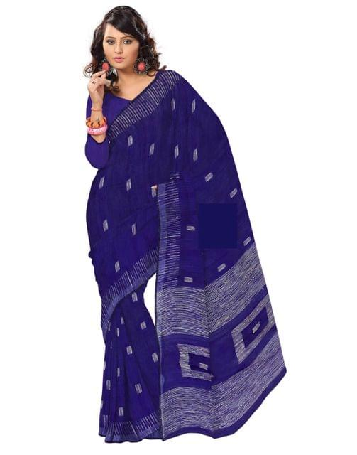 Bengal Handloom Cotton Silk Saree with Box Ghicha Pallu- Slate Blue