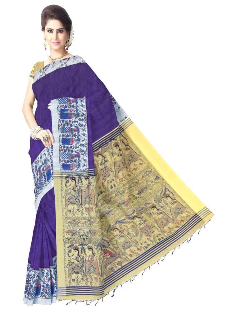 Bengal Handloom Cotton Silk Madhubani Saree - Royal Blue