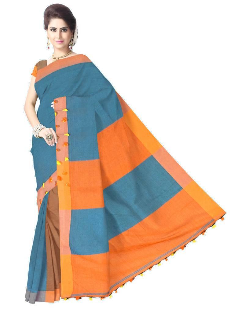 Bengal Handloom Cotton Linen Saree- Orange&Blue