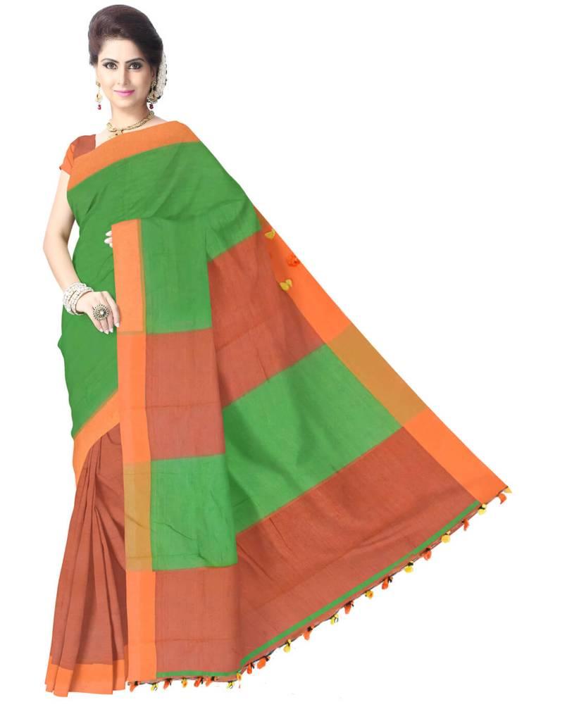 Bengal Handloom Cotton Linen Saree- Green&Orange