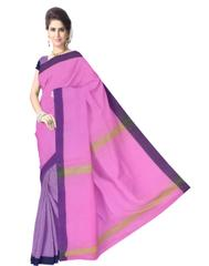 Bengal Handloom Cotton Linen Saree- Pink&Navy Blue