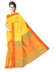 Bengal Handloom Cotton Linen Saree- Yellow&Orange