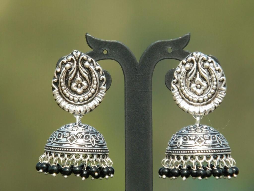 German Silver Teardrop Stud Jhumkas/Jhumkis-Black Beads