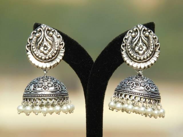German Silver Teardrop Stud Jhumkas/Jhumkis- Pearl Beads