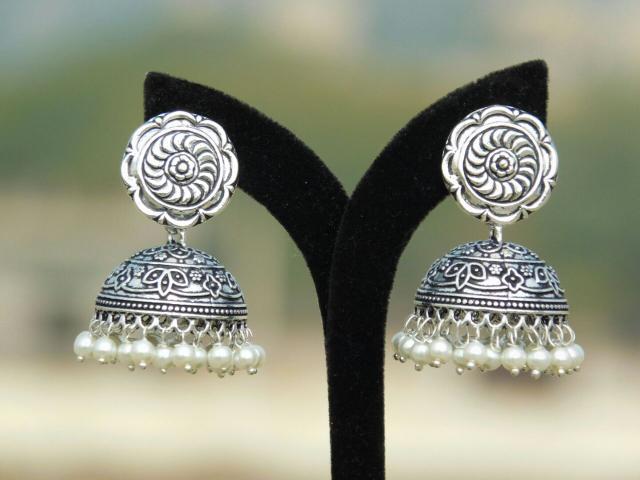 German Silver Flower Stud Jhumkas/Jhumkis- Pearl Beads