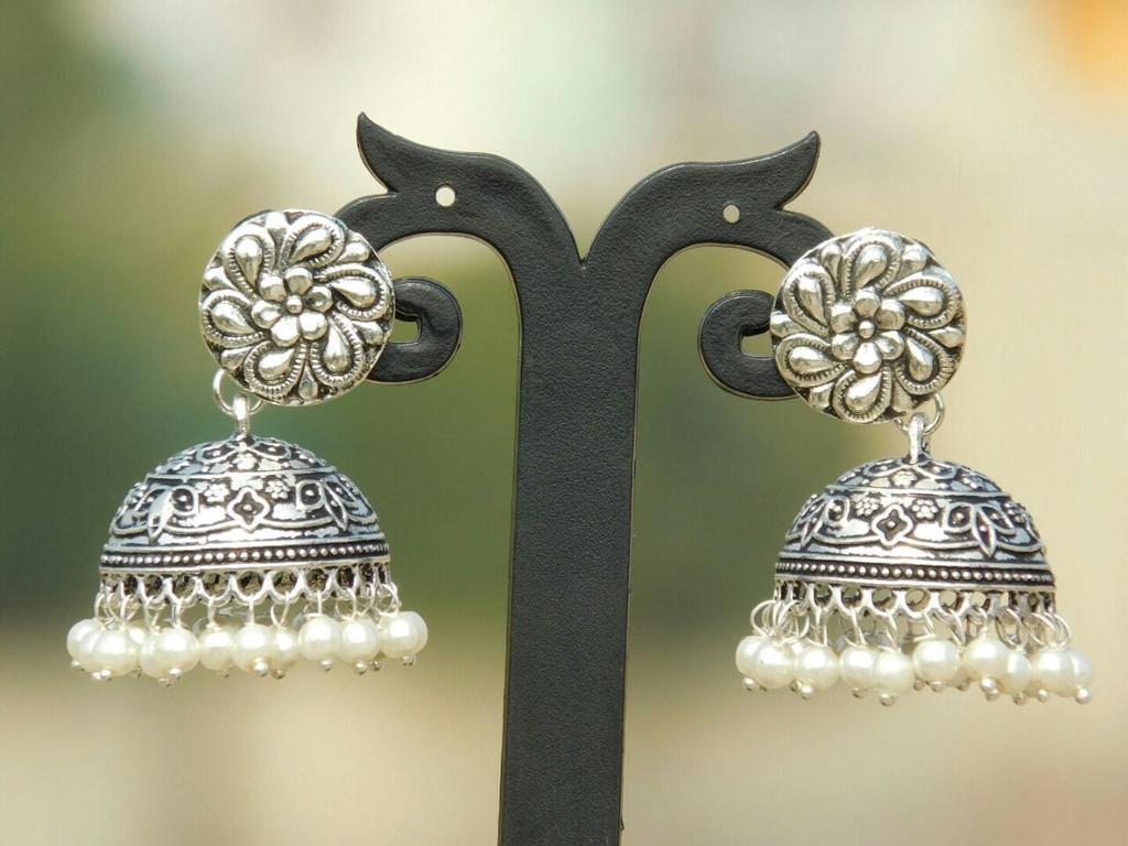 German Silver Flower Stud Jhumkas/Jhumkis- Pearl Beads 2