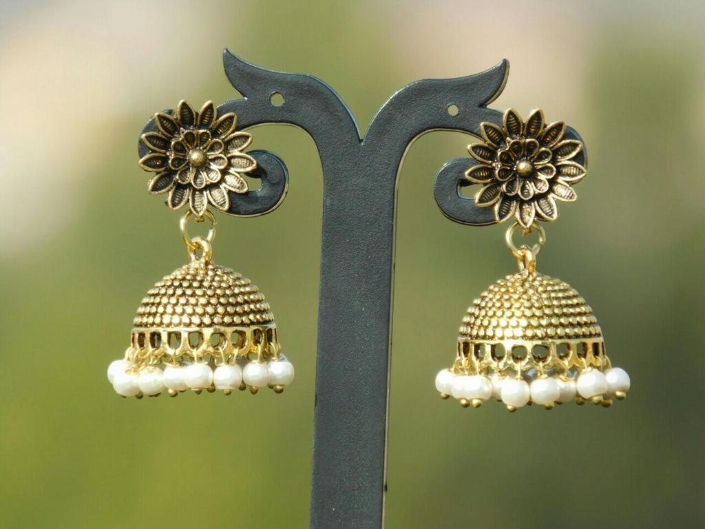 German Silver Gold Polish Flower Stud Jhumkas/Jhumkis- Pearl Beads