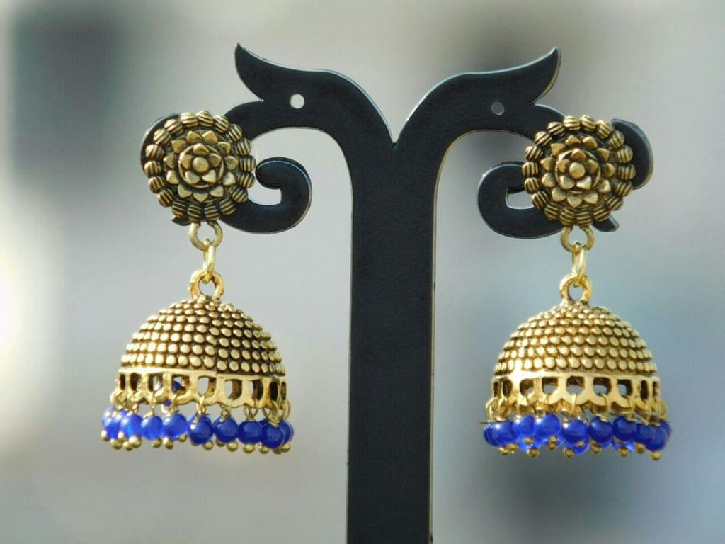 German Silver Gold Polish Flower Stud Jhumkas/Jhumkis- Blue Beads