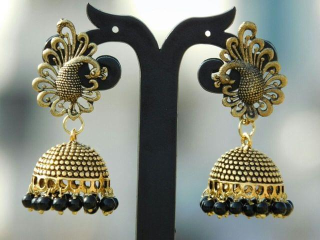 German Silver Gold Polish Peacock Stud Jhumkas/Jhumkis- Black Beads