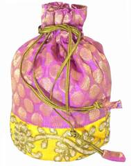 Brocade Silk Stonework Potli-Pink&Yellow