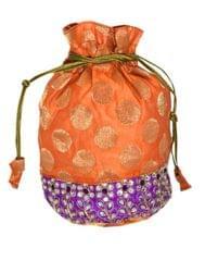 Brocade Silk Stonework Potli-Orange&Mauve