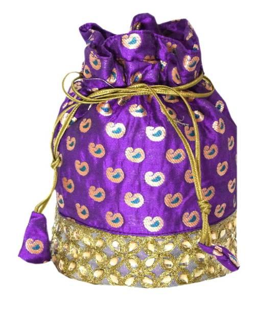 Brocade Silk Stonework Potli-Purple