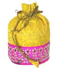 Brocade Silk Stonework Potli-Yellow&Pink