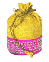 Brocade Silk Stonework Potli-Yellow&Pink