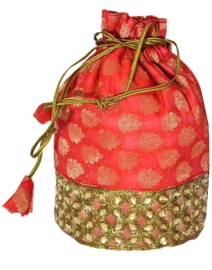 Brocade Silk Stonework Potli-Red