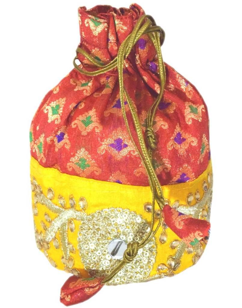 Brocade Silk Stonework Potli-Maroon&Yellow
