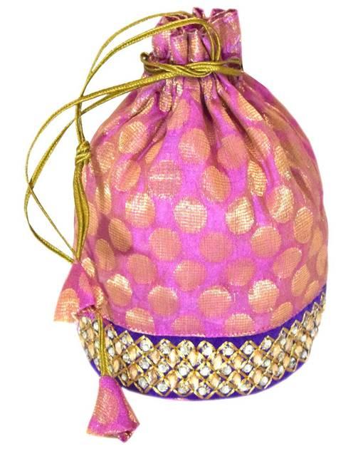 Brocade Silk Stonework Potli-Pink&Blue