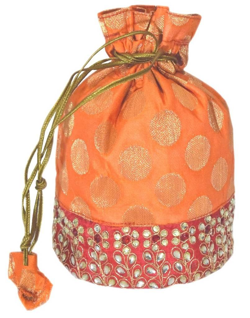 Brocade Silk Stonework Potli-Orange&Red