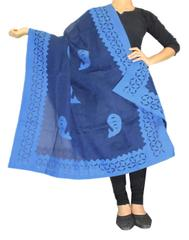 Cotton Cutwork Dupatta- Indigo Blue