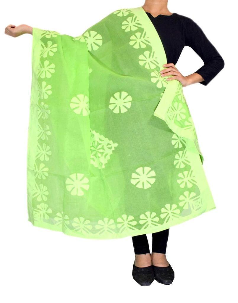 Cotton Cutwork Dupatta- Green