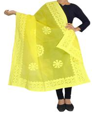 Cotton Cutwork Dupatta- Yellow