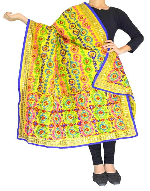 Phulkari Dupatta on Chanderi Fabric -Yellow