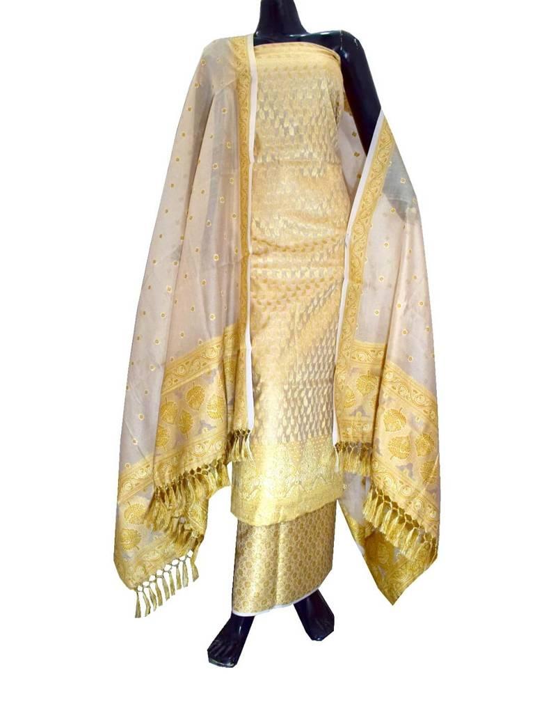 Benarasi Jamdani Brocade Suit in Silk-Cotton- Beige