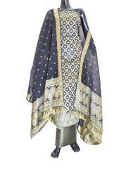 Benarasi Jamdani Brocade Suit in Silk-Cotton- Black
