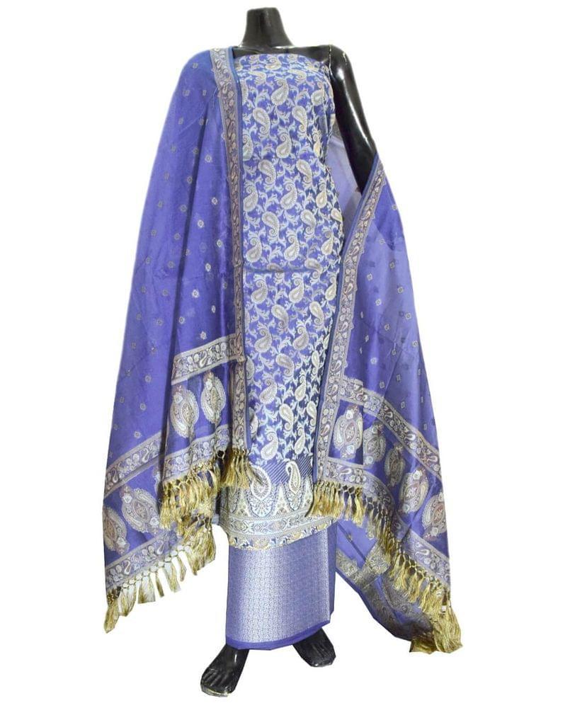 Benarasi Jamdani Brocade Suit in Silk-Cotton-Blue