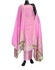 Benarasi Jamdani Brocade Suit in Silk-Cotton- Pink 1