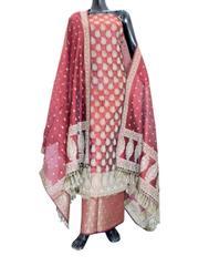 Benarasi Jamdani Brocade Suit in Silk-Cotton- Maroon